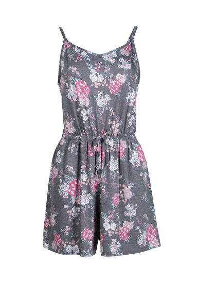 Women's Floral Blossom Print Romper, HEATHER GREY, hi-res