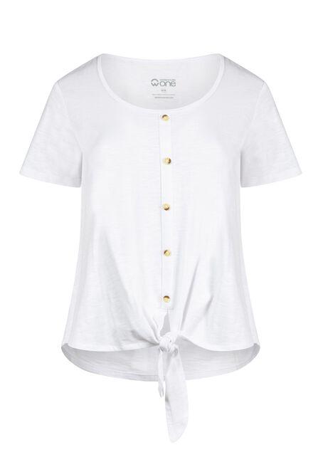 Women's Tie Front Tee, WHITE, hi-res