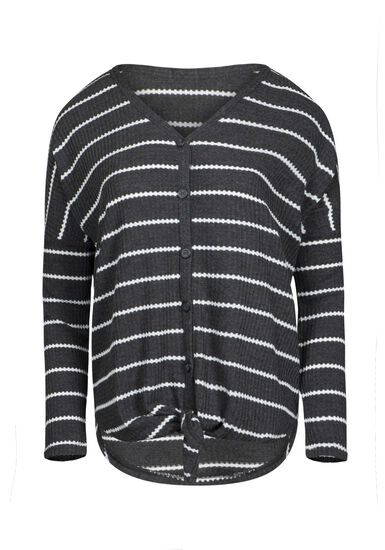 Women's V-Neck Stripe Tie Front Waffle Top, CHARCOAL, hi-res