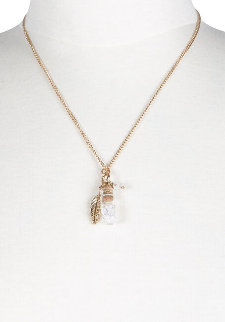 Ladies' Crystals in a Bottle Necklace, GOLD, hi-res