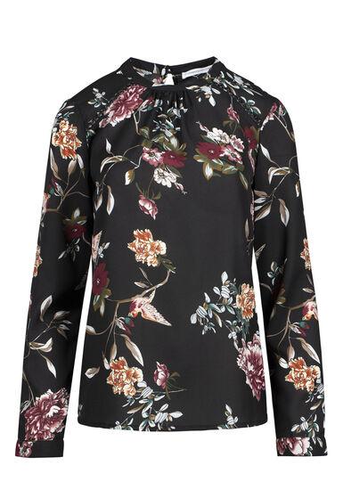 Women's Floral Mock Neck Top, BLACK, hi-res