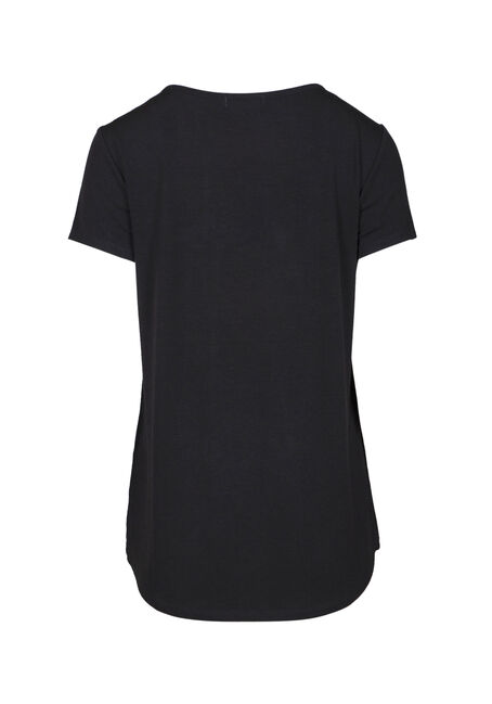 Women's Two Words Cage Neck Graphic Tee, BLACK, hi-res