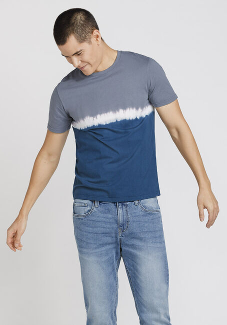 Men's Colour Block Tie Dye Tee, NAVY, hi-res