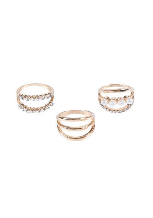 Ladies' Trio Ring Set, GOLD, hi-res