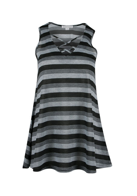 Ladies' Cage Neck Stripe Tunic Tank