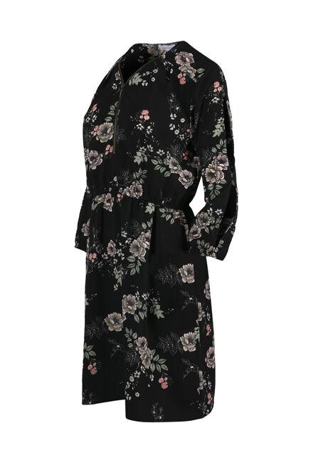 Women's Floral Cold Shoulder Shirt Dress, BLACK FLORAL, hi-res