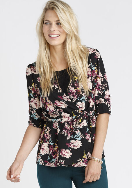 Ladies' Floral Wrap Top, BLACK, hi-res