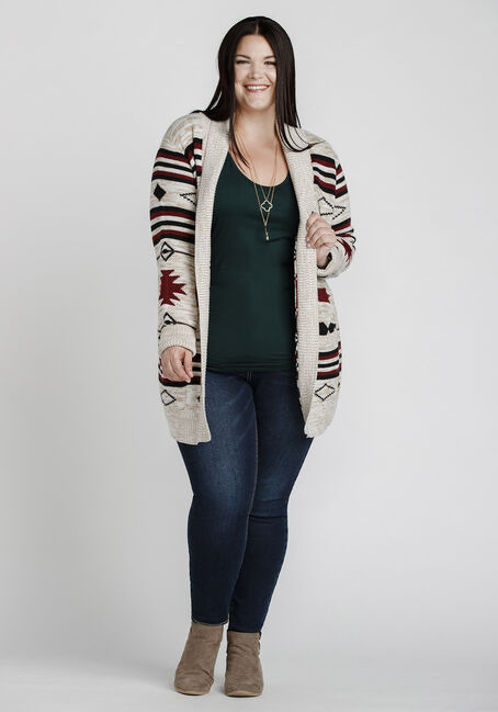 Women's Aztec Pattern Cardigan, OATMEAL, hi-res