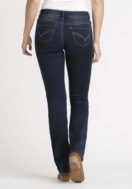 Women's Dark Wash Straight Jeans, DARK WASH, hi-res