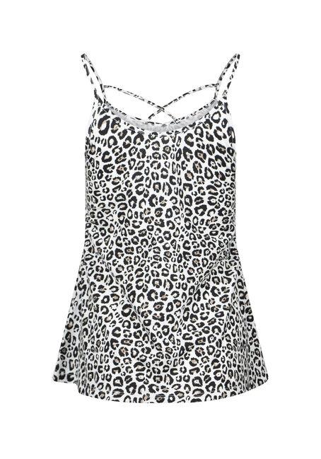 Women's Leopard Print Cage Neck Tank, LEOPARD, hi-res