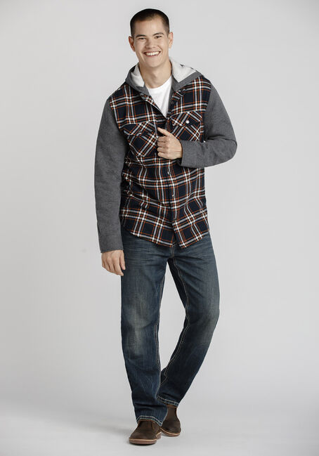 Men's Hooded Plaid Shirt Jacket, NAVY, hi-res