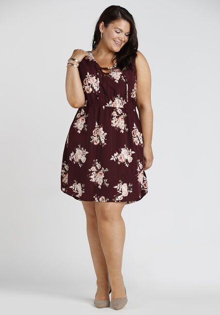 Ladies' Floral Lace Up Dress, BURGUNDY, hi-res