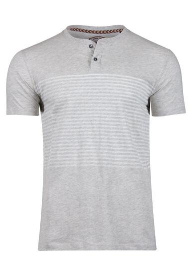 Men's Striped Henley Tee, HEATHER GREY, hi-res