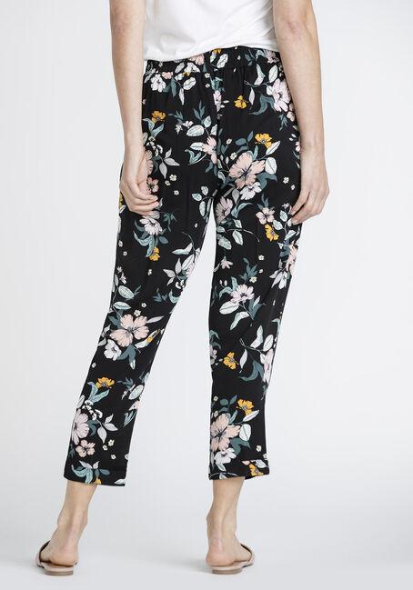 Women's Floral Crop Pant, BLACK, hi-res