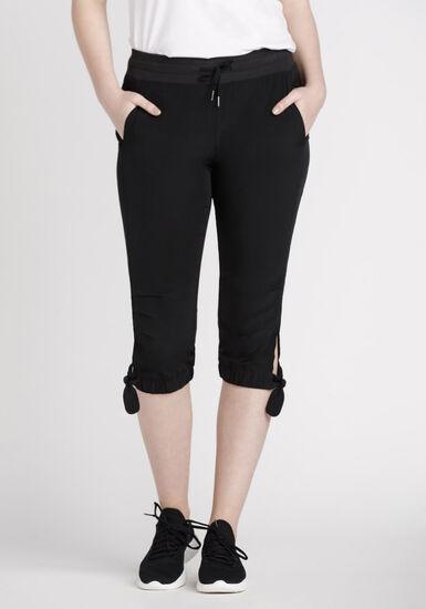 Women's Knotted Hem Capri, BLACK, hi-res