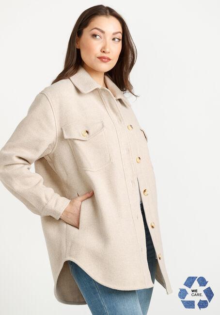 Women's Button Front Shacket, TAN, hi-res