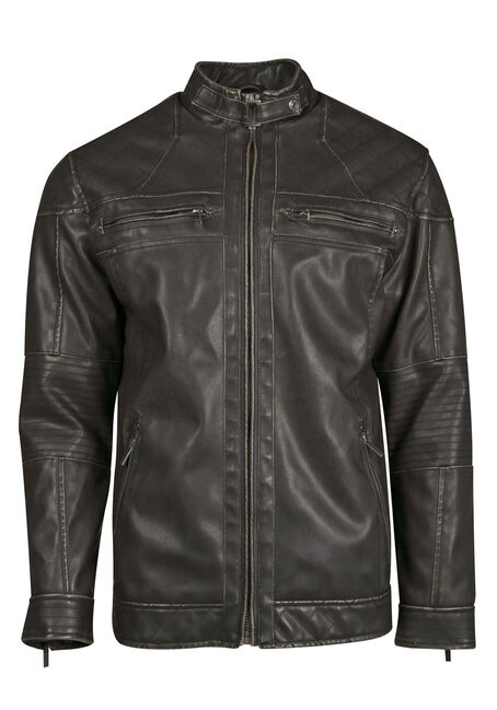 Men's Distressed Moto Jacket