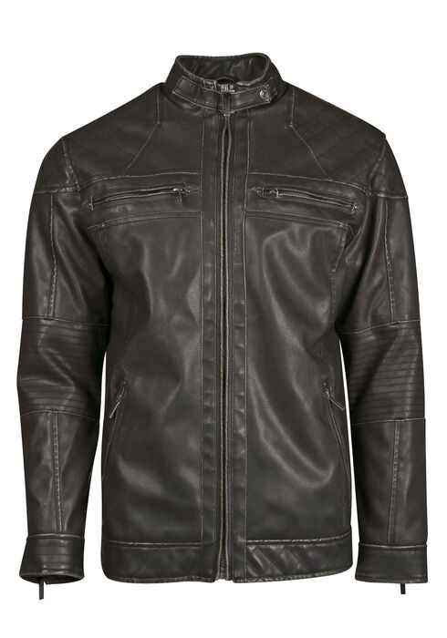 Men's Distressed Moto Jacket, BLACK, hi-res