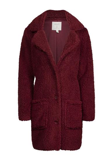 Women's Sherpa Coat, PORT, hi-res