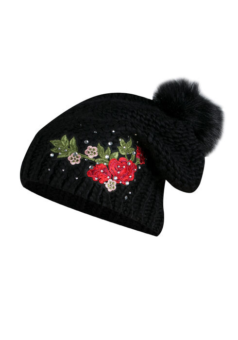 Ladies' Floral Pom Pom Hat, BLACK, hi-res