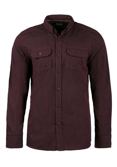 Men's Relaxed Textured Shirt, BURGUNDY, hi-res