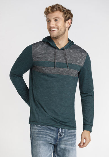 Men's Colourblock Hooded Tee, SHADED SPRUCE, hi-res