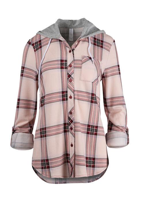 Ladies' Hooded Knit Boyfriend Shirt, Rose Quartz, hi-res