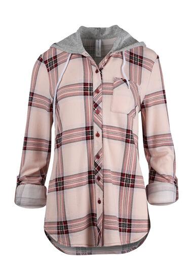 Women's Hooded Knit Boyfriend Shirt, Rose Quartz, hi-res