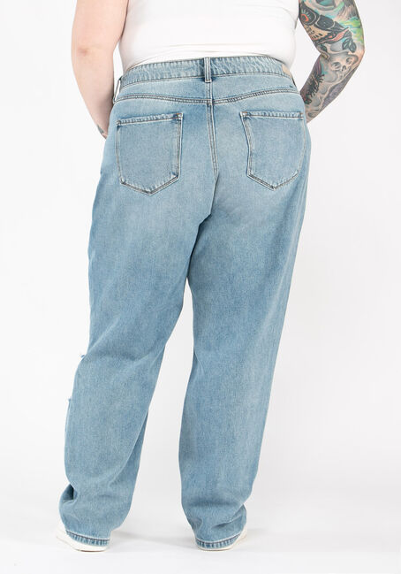 Women's Plus Size High Rise 90's Boyfriend Jeans, MEDIUM WASH, hi-res