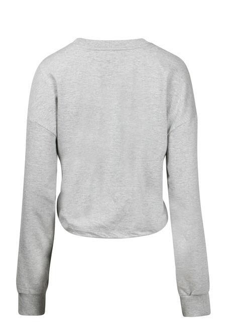 Women's Cinched Waist Sweatshirt, HEATHER GREY, hi-res