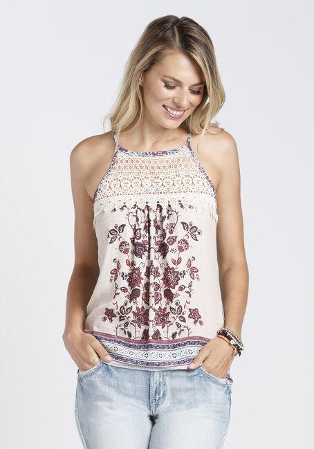 Ladies' Floral Crochet Tank, TULIP/OATMEAL, hi-res