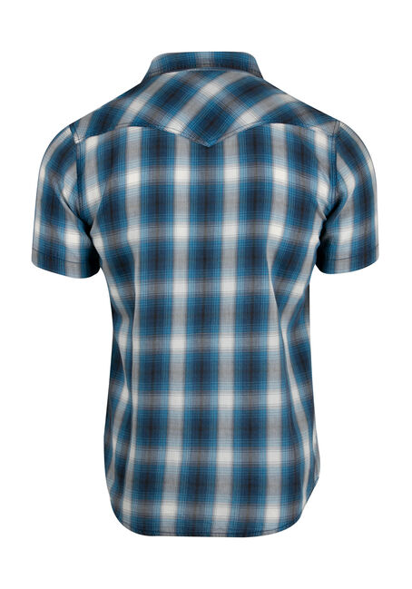 Men's Washed Plaid Shirt, BLUE, hi-res