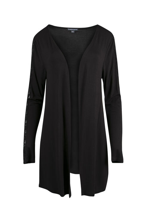 Ladies' Lace Insert Cardigan, BLACK, hi-res