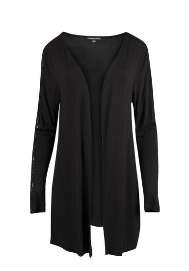 Ladies' Lace Insert Cardigan, BLACK, hi-res
