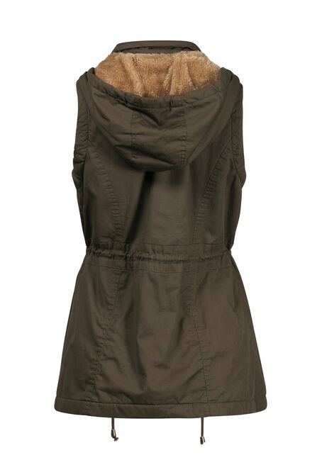 Women's Hooded Anorak Vest, OLIVE, hi-res