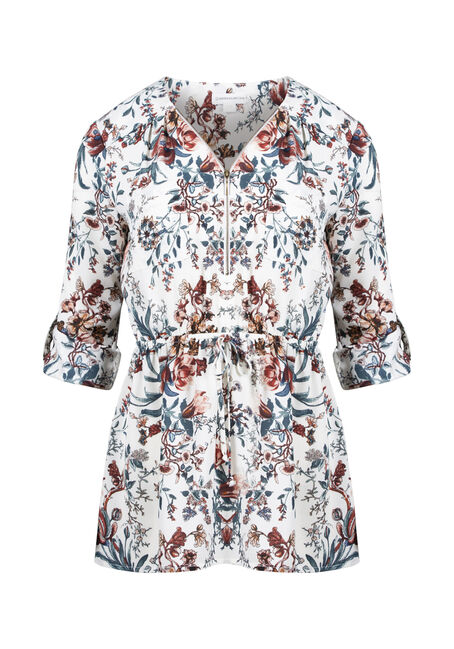 Women's Floral Zip Front Blouse