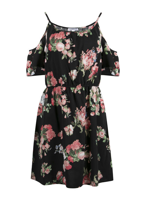 Ladies' Floral Cold Shoulder Dress, BLACK FLORAL, hi-res