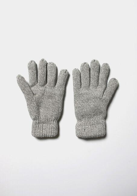 Men's Knit Gloves, GREY, hi-res