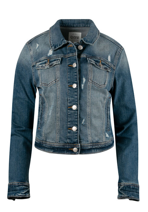 Women's Vintage Distressed Jean Jacket, LIGHT WASH, hi-res