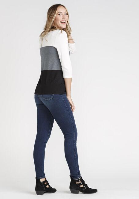 Women's Colour Block Twist Hem Top, BLACK/GREY, hi-res