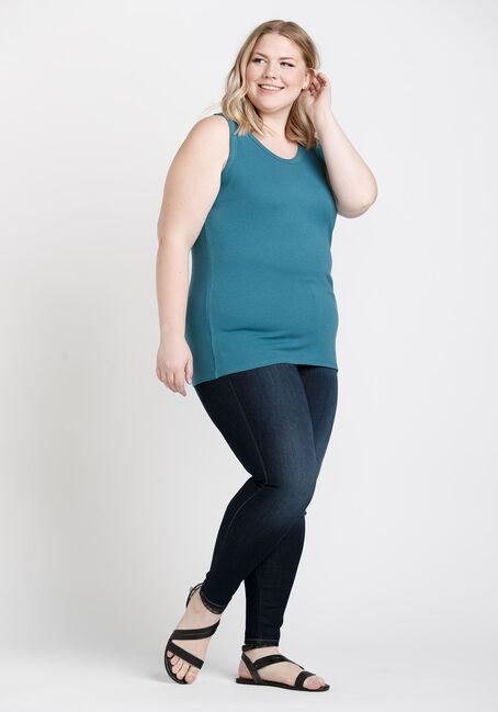 Women's Rib Knit Tank Top, BERMUDA BLUE, hi-res