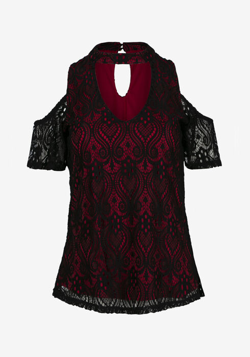 Women's Lace Overlay Cold Shoulder Top, BRIGHT RED, hi-res