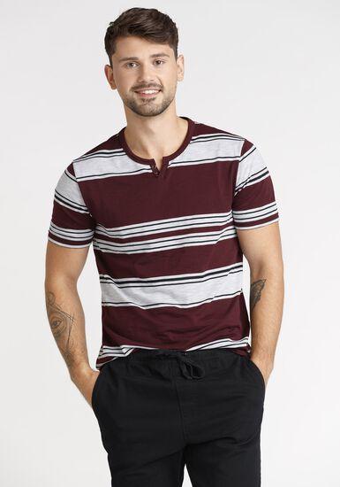 Men's Everday Stripe Notch Neck Tee, VINEYARD, hi-res