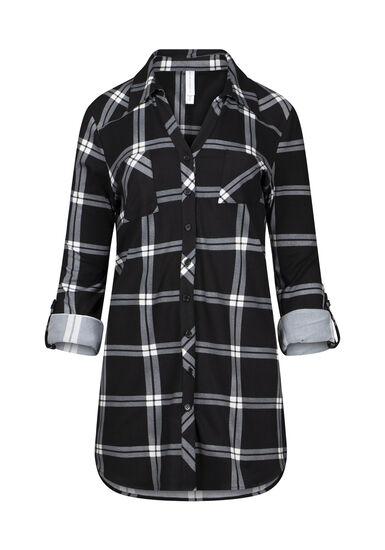 Women's Knit Plaid  Tunic Shirt, BLACK, hi-res