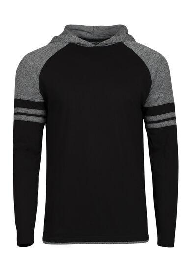 Men's Everyday Hooded Football Tee, BLACK, hi-res