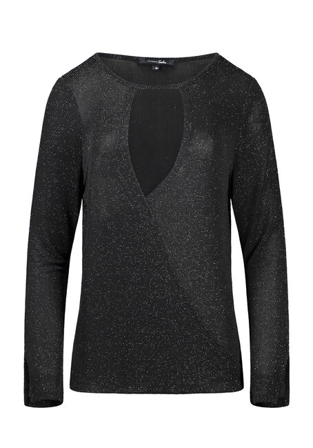 Women's Shimmer Wrap Front Top
