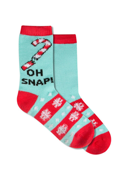 Ladies' Oh Snap Holiday Socks, LIGHT BLUE, hi-res