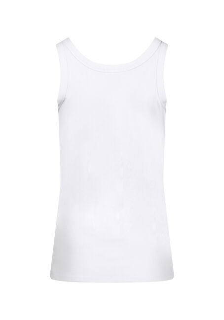 Women's Rib Knit Tank Top, WHITE, hi-res