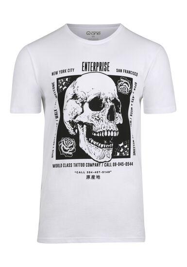 Men's Skull Tee, WHITE, hi-res