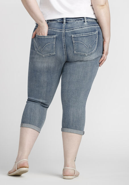 Women's Plus Size Distressed Cuffed Capri, LIGHT WASH, hi-res